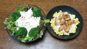 ささみ丼 大根とツナのサラダ