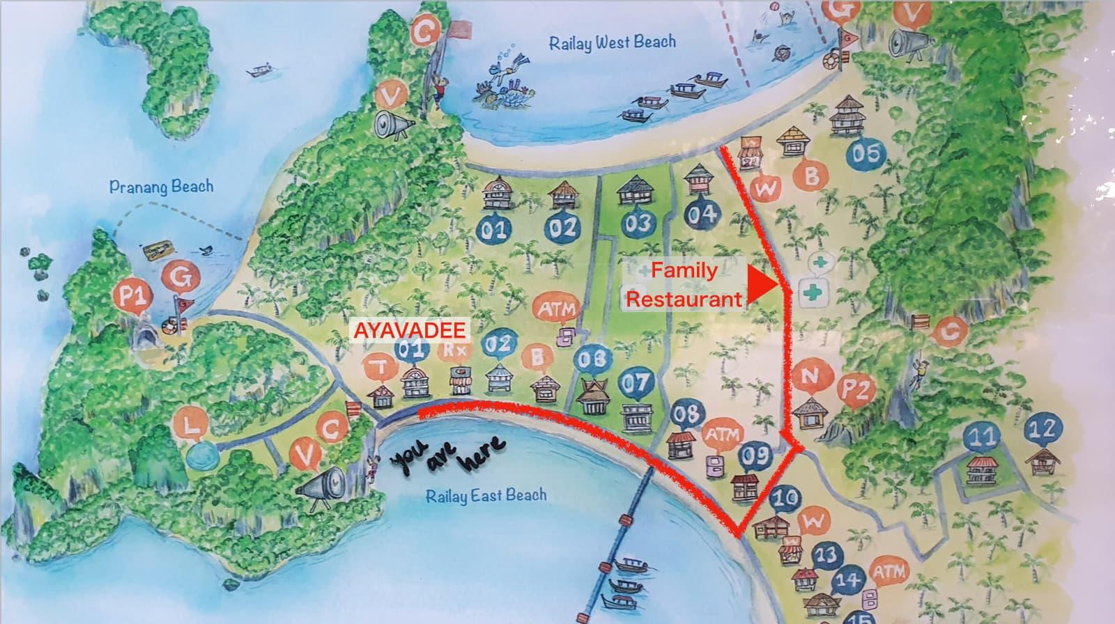 クラビ  ライレイ地区 ウォーキングストリート Krabi Railay WalkingStreet ファミリーレストラン FamilyRestaurant