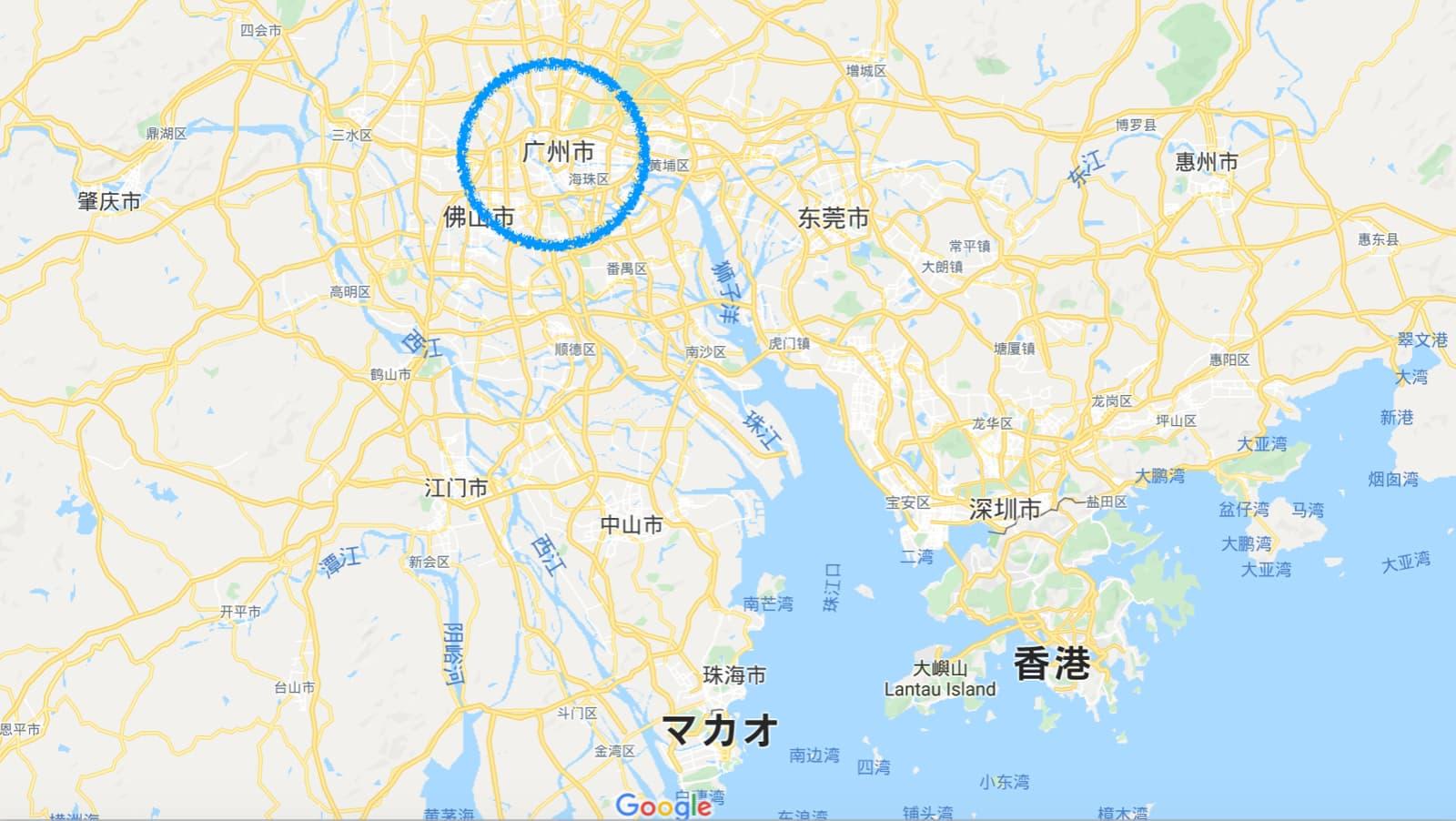 中国 広州 地図